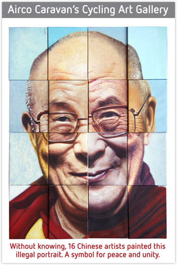 Dalai Lama airco_caravan_portret dalai lama door chinese kunstenaars