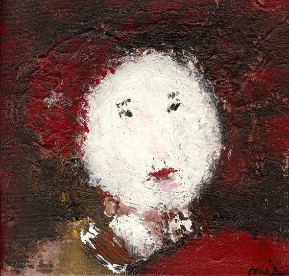 Linji, afbeelding bij serie. Olieverfdoek Mieke Stevens, Essen.