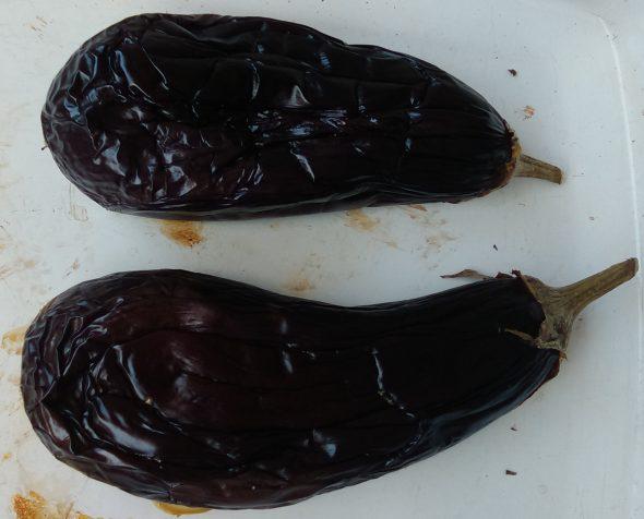 Zwartgeblakerde aubergines