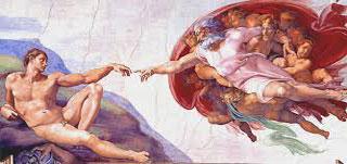 God schept Adam.