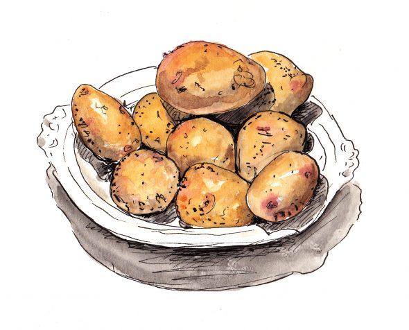 Aardappels, schets Jana.