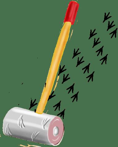 Roller aan een stok die een spoor van pootafdrukken maakt