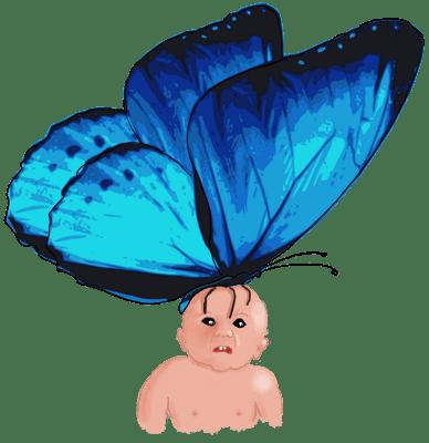 Angstige baby met enorme blauwe vlinder op zijn hoofd