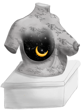 Vrouwelijk torso waarvan één borst uitzicht biedt op de sterrenhemel