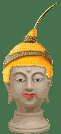 Tekening van een boeddhakop met een zwartgele kralenketting op zijn hoofd die uitloopt in een angel
