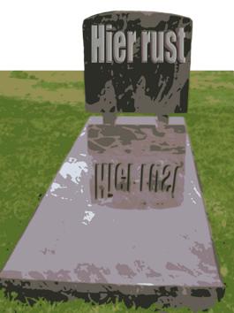 Montage van een marmeren grafzerk in een graslandschap met alleen de woorden 'Hier rust'