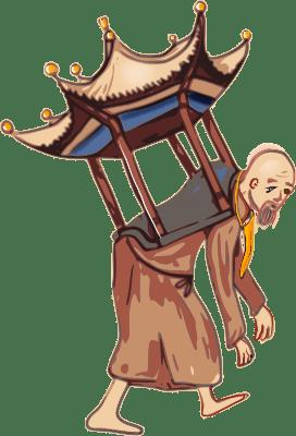 Monnik met tempel