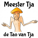 Verbaasde chinees, met de tekst Mr. Tja, de Tao van Tja