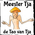 Verbaasde chinees, met de tekst Mr. Tja, de Tao van Tja