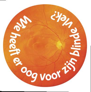 Foto van een netvlies met de tekst 'Wie heeft er oog voor zijn blinde vlek?'