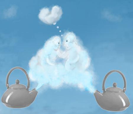 Twee theeketels waarvan de stoomwolken een verliefd stelletje suggereren