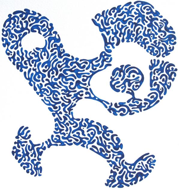 Vreemd blauw mannetje gevuld met zwervelingen
