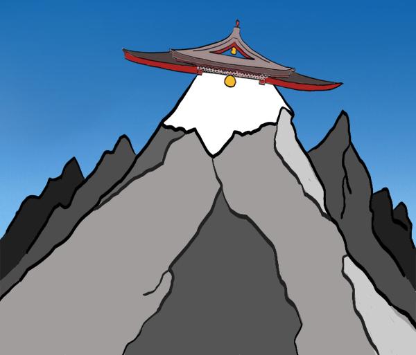 Bergtop met een tempeldak als top