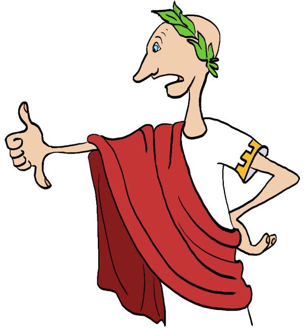 Verbaasde Caesar kijkt naar zijn hand met twee duimen