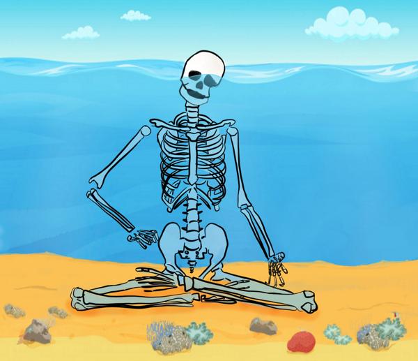 Mediterend skelet onder water, met deel van hoofd net bovenwater