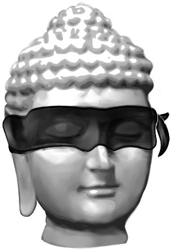 Beeld van een boeddhahoofd met een zwarte blinddoek