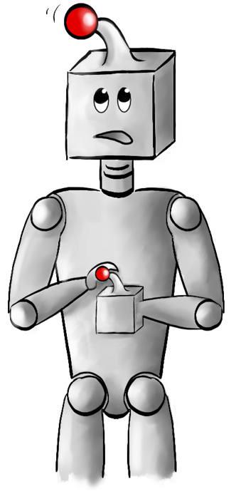 Robot met joystick op zijn hoofd en joystick in zijn hand