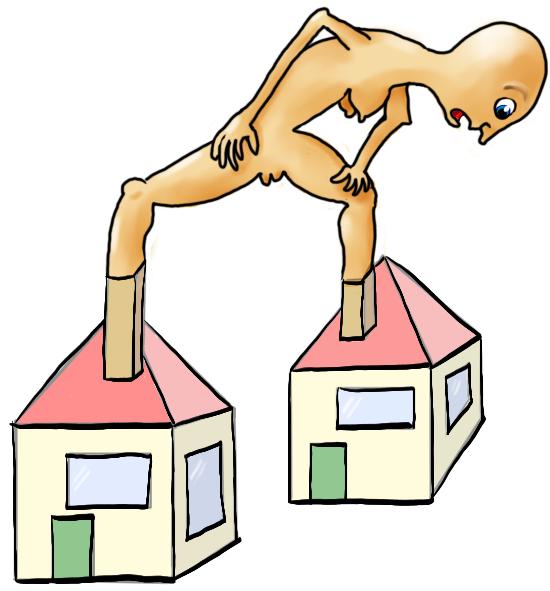 Verbaasd naakt vrouwtje kijkt naar haar voeten die vergroeid zijn met de schoorstenen van twee huisjes