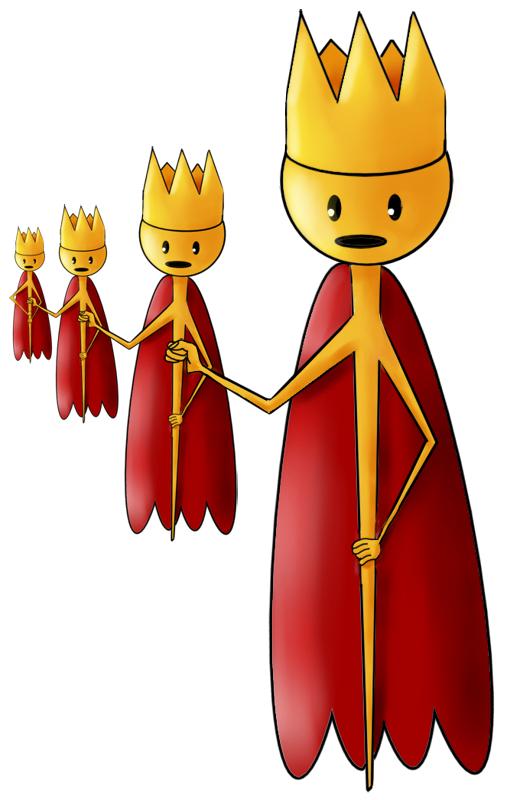 Koning in de vorm van een scepter die een scepter vasthoud die een scepter vasthoud die een scepter vasthoud die een scepter vasthoud