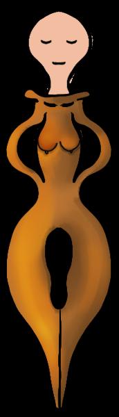 Vrouwelijke kroontjespen met hoofdje, en serene blik