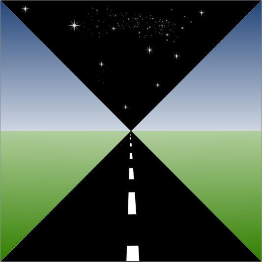 Weg die aan de horizon overgaat in de met sterren bezaaide ruimte