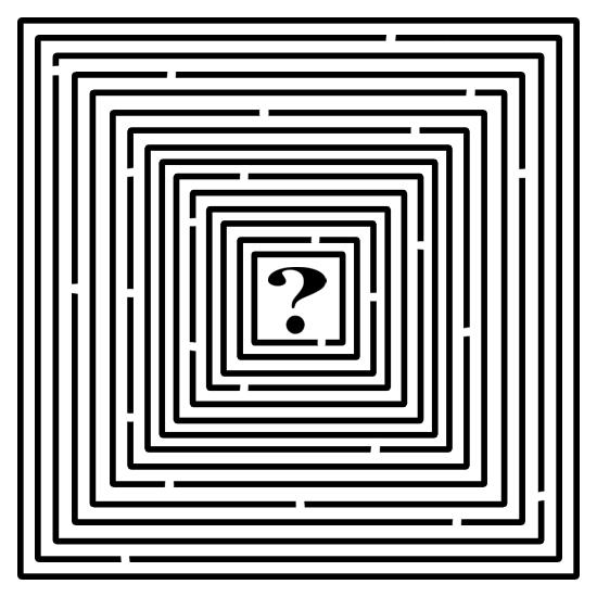 Labyrint van tientallen concentrische vierkanten met kleine doorgangen en helemaal in het midden een vraagteken.