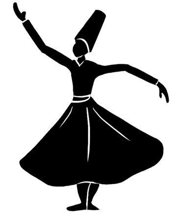 Zwart silhouet van een dansende derwisj tegen een witte achtergrond.