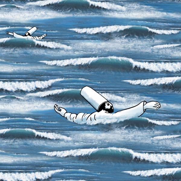 Twee derwisjen die watertrappelend rondjes draaien in zee.