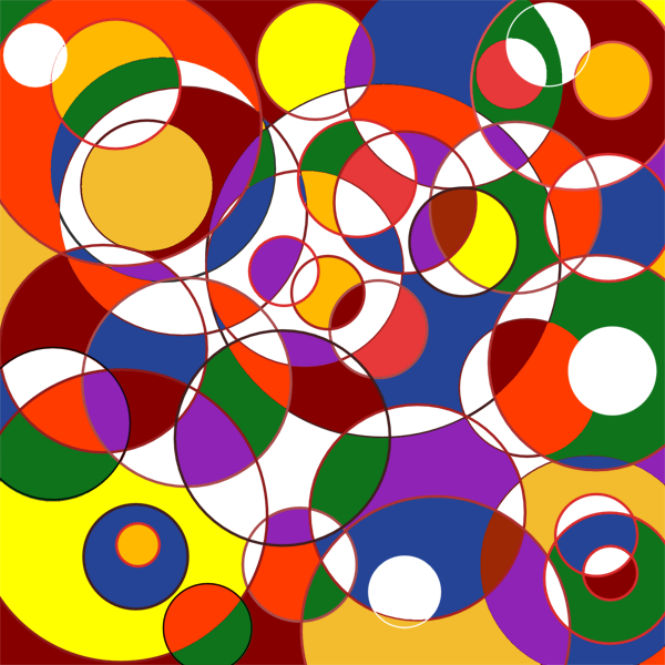 Een heleboel halfdoorzichtige cirkels door elkaar.