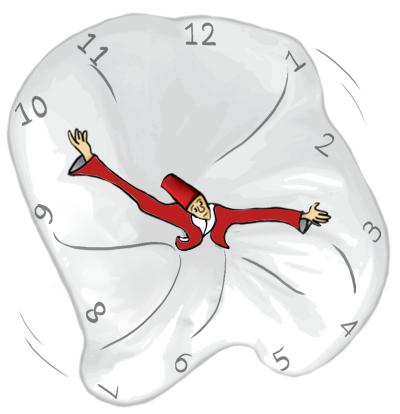 Bovenaanzicht van dansende derwisj, zijn uitwaaiende rok met de cijfers 1-12 langs de rand fungeert als wijzerplaat, zijn armen als wijzers.