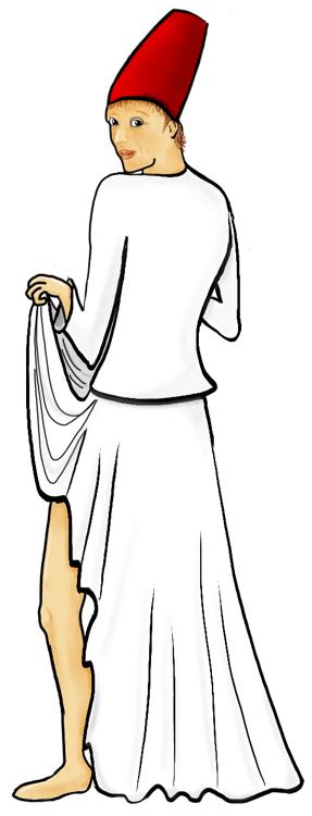 Derwisj die de voorkant van zijn rok omhoog houdt en ondeugend over zijn schouder kijkt.