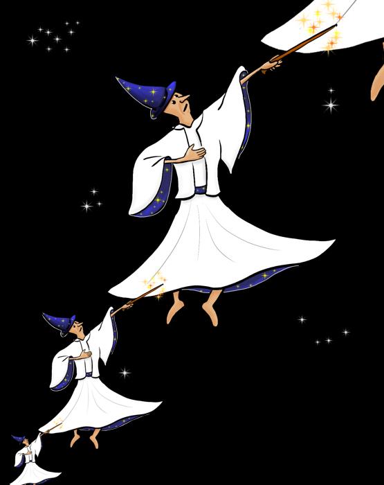Droste-effect van een derwisj-tovenaars die derwisj-tovenaarstoverende tovenaars tovert.