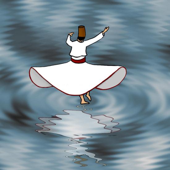 Derwisj die op het water danst.