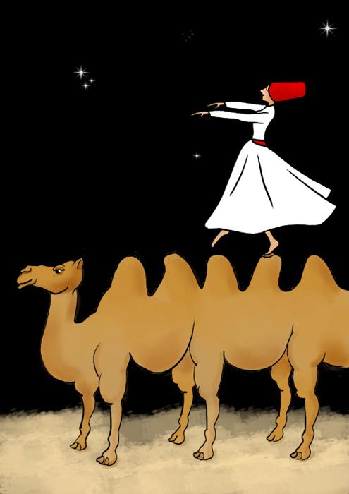 Derwisj met slaapmuts die met zijn armen vooruit over de bulten van een veelbultige kameel wandelt.