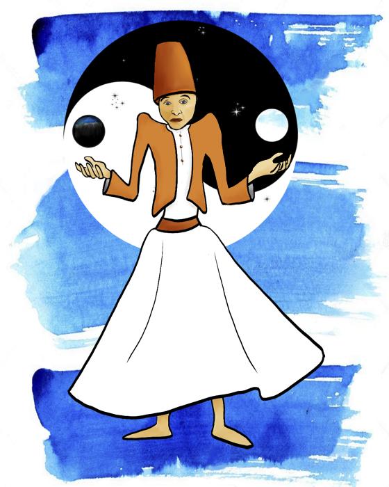 Derwisj die zijn schouders ophaalt tegen de achtergrond van een taijitu, ter herinnering aan Meester Tja.