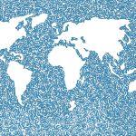 Wereldkaart met louter wit land in een blauwe zee van kleine wervelende figuurtjes.
